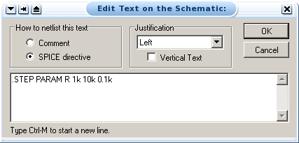 Setting parameter and details for parametric       analysis
