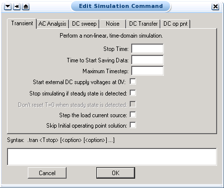 simulation command menu